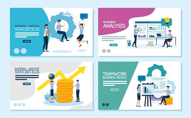 Praca zespołowa ustawić sceny analizy infographic