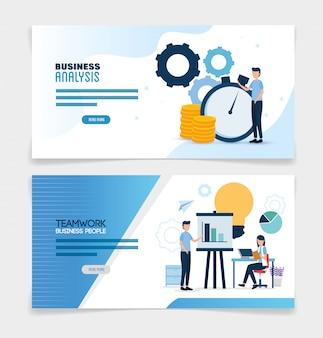 Praca zespołowa ustawić sceny z analizy infographic zestaw banner