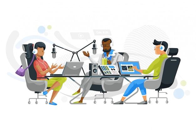 Praca zespołowa w studio podcastów