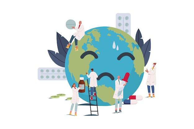 Praca zespołowa w zapobieganiu zmianom klimatu ilustracja