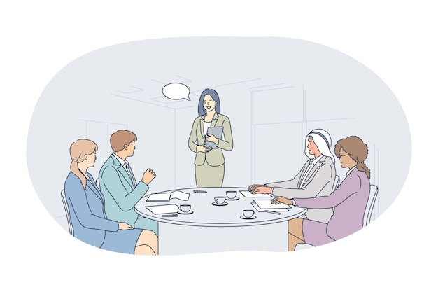 Praca zespołowa, współpraca, koncepcja partnerstwa międzynarodowego. młodzi ludzie biznesu pracownicy biurowi partnerzy postaci z kreskówek wieloetniczna grupa omawiająca projekty w biurze ilustracji
