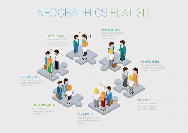 Praca zespołowa, współpraca, siła robocza, zwycięski szablon infografikę personelu. ludzie biznesu na łamigłówka kawałkach ilustracyjnych. koncepcja struktury korporacyjnej.