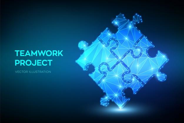 Praca zespołowa z puzzlami. współpraca, partnerstwo, stowarzyszenie i połączenie.
