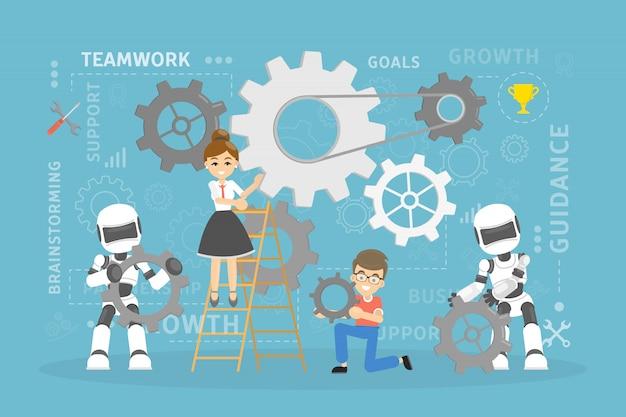 Praca zespołowa z robotami.