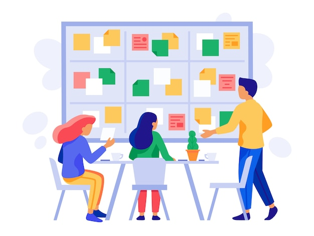 Praca zespołowa zarządu kanban. schemat odprawy, zarządzanie scrum i zespół pracowników firmy planuje burzę mózgów ilustracji