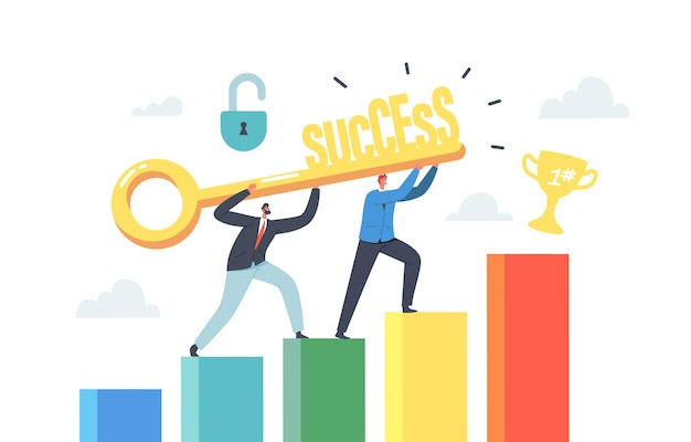 Praca zespołowa znaków biznesowych. zespół biznesmenów posiadających złoty klucz wspina się po sukces finansowy z trofeum na szczycie. rozwój kariery, współpraca, partnerstwo. ilustracja wektorowa kreskówka ludzie
