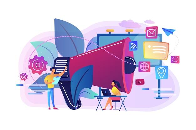 Praca zespołu marketingowego i ogromny megafon z ikonami mediów. marketing i branding, billboard i reklama, koncepcja strategii marketingowych