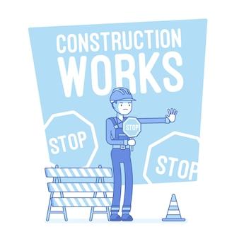 Prace budowlane zatrzymaj ilustrację