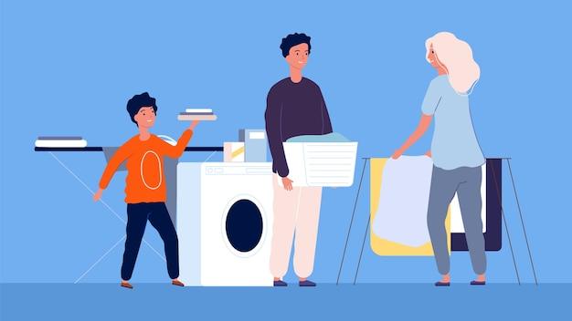 Prace domowe. mama z dziećmi sprzątanie i pranie, prasowanie. rodzina czyści, ilustracja pralni. matka kreskówka prace domowe, gospodarstwo domowe kobiety