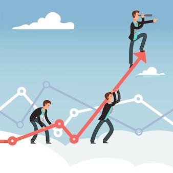 Prace korporacyjne i wysiłek zespołu w zakresie koncepcji wektorowego rozwoju biznesu