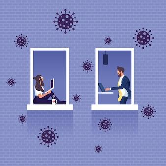 Pracować w domu, aby uniknąć wirusów - koncepcja koronawirusa covid-19