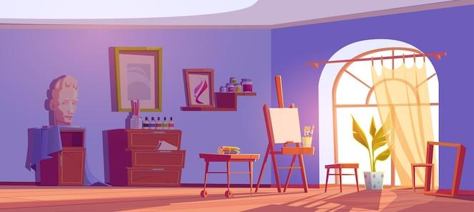 Pracownia artystyczna z płótnem i pędzlami na sztalugach, farbami na półkach i kredkami.