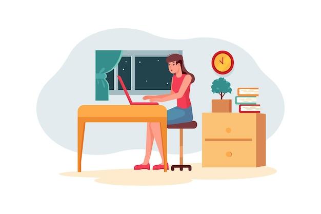 Pracownica pracująca na ilustracji projektu