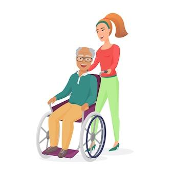 Pracownica socjalna lub córka opiekuje się starym niepełnosprawnym mężczyzną na wózku inwalidzkim