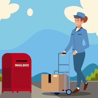 Pracownica usług pocztowych z pudełkiem na wózek i skrzynką pocztową na ilustracji ulicy
