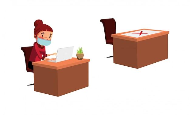 Pracownica wykonuje swoją pracę i fizycznie dystansuje się podczas nowej normalności