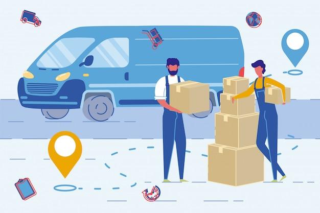 Pracownicy agencji przeprowadzkowych lub przeprowadzki pudełek wysyłkowych