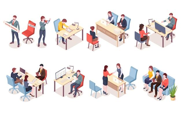 Pracownicy agencji rekrutacyjnych w widoku izometrycznym