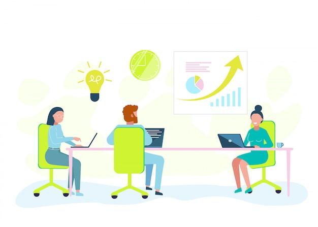 Pracownicy biurowi ciężko pracują z laptopem. biznesowa ilustracja.