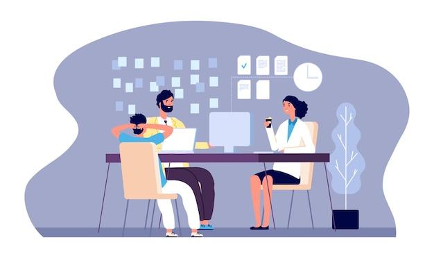 Pracownicy biurowi. młode osoby pracują z laptopem.
