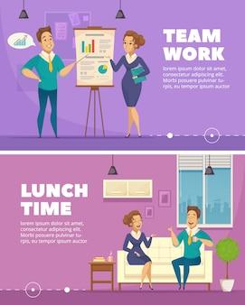 Pracownicy biurowi praca zespołowa i pora lunchu rozmowa 2 horyzontalni retro sztandary