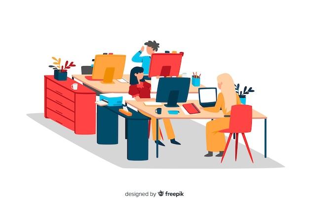 Pracownicy biurowi pracujący razem