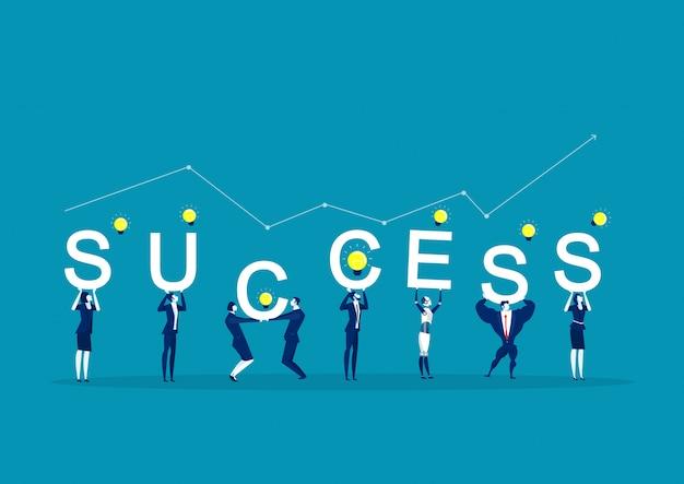 Pracownicy biurowi trzymający słowo sukces