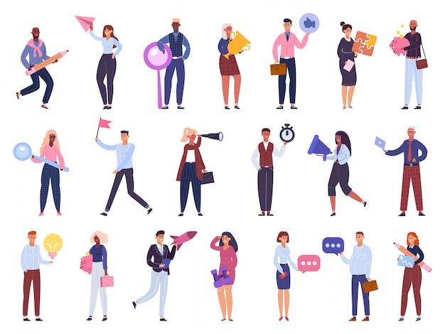 Pracownicy biznesowi. zespół postaci biurowych, burza mózgów, zarządzanie czasem i zestaw ilustracji biznesowych dla początkujących. postacie interesu i mężczyzny, firma społeczna pracy zespołowej
