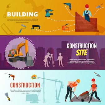 Pracownicy budowlani banery poziome
