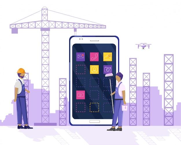Pracownicy budowlani buduje miasto z żurawiem i używa technologii inteligentnego telefonu