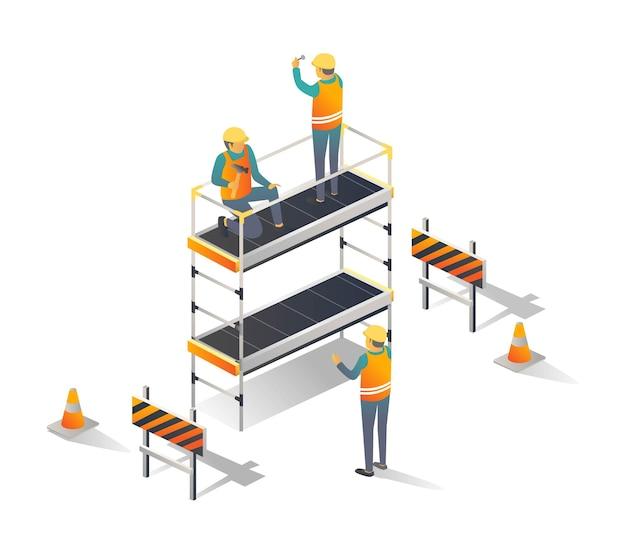 Pracownicy Budowlani Korzystający Z Rusztowań Premium Wektorów