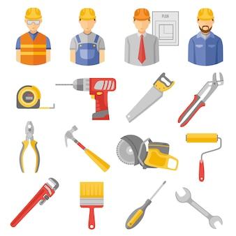 Pracownicy budowlani narzędzia płaskie ikony ustaw