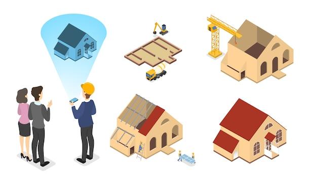Pracownicy budujący duży drewniany dom z czerwonym dachem. etapy budowy domu. malowanie ścian i budowa dachów. ilustracja izometryczna