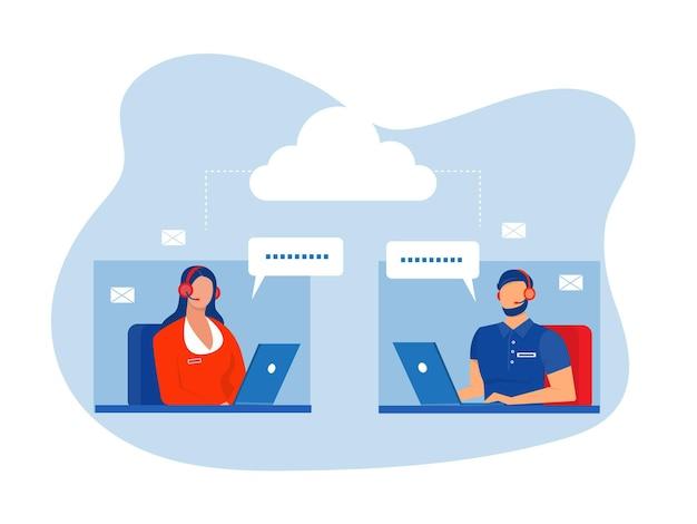 Pracownicy call center pomagają klientomcall center infolinii płaski wektor ilustrator