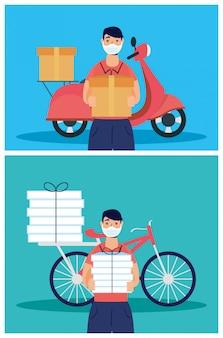 Pracownicy dostawy używający masek na twarz w motocyklu i rowerze