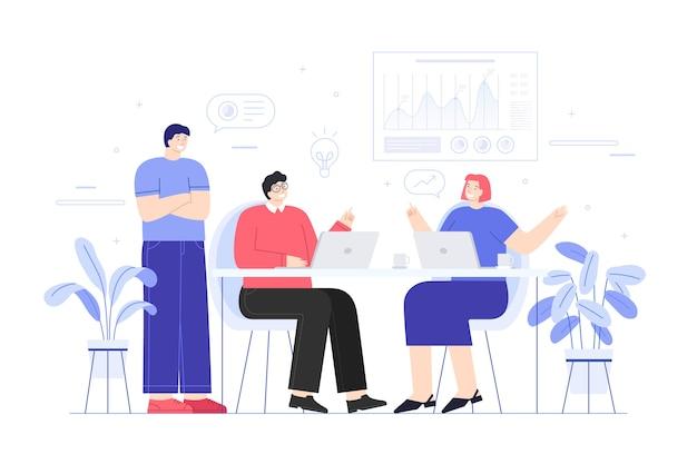Pracownicy dyskutują w biurze