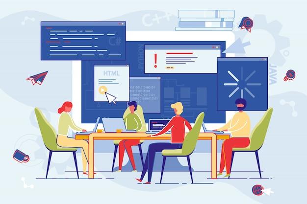Pracownicy firmy biorą udział w internetowych kursach edukacyjnych.
