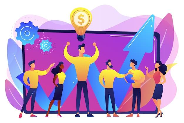 Pracownicy firmy i lider mający udany pomysł na zarobienie pieniędzy. kapitał intelektualny, zasoby ludzkie firmy, koncepcja źródeł zarabiania pieniędzy.