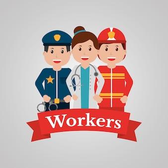 Pracownicy grupy ludzi zawód pracownik kreskówka transparent