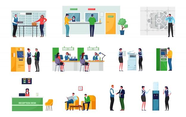 Pracownicy i klienci bankowości. sala bankowa z sejfami. kasjerka pracuje w kasie. recepcja biurowa z pracownikiem, konsultantem menadżera. terminal bankomatowy.