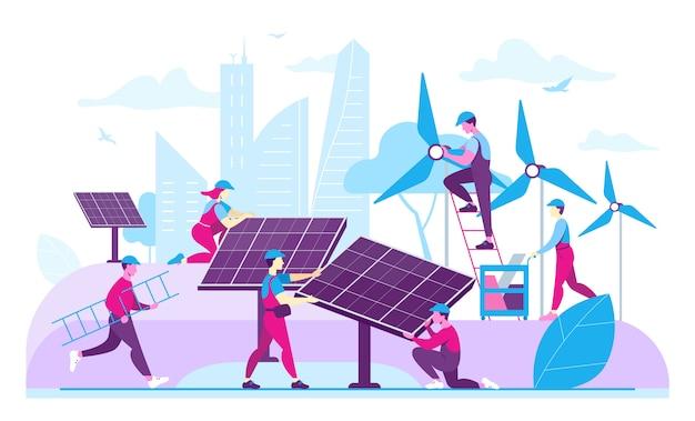 Pracownicy instalujący ekologiczne generatory energii. płaska ilustracja