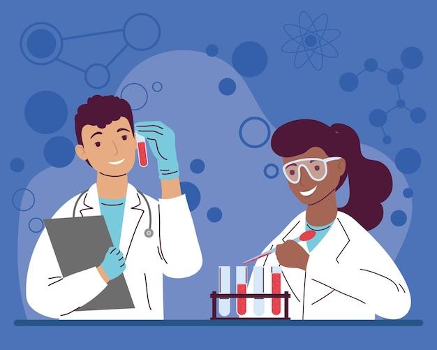 Pracownicy laboratorium para międzyrasowych postaci