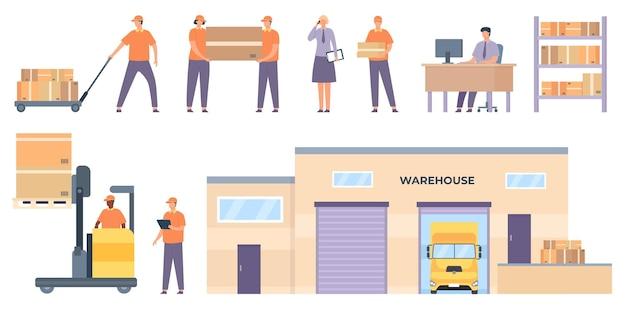 Pracownicy logistyki. hala magazynowa towarowa i samochodowa, regały z paczkami, kurierzy, wózki widłowe podnoszone skrzynie. płaski zestaw wektor dostawy. ilustracja budynku magazynu, ciężarówki i magazynu