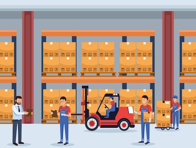Pracownicy logistyki w magazynie