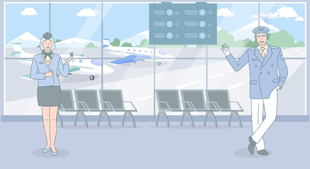 Pracownicy lotnisk i linii lotniczych zapraszają do podróży samolotem. robotnicy lotniczy, stewardessa i pilot stojący na lotnisku.