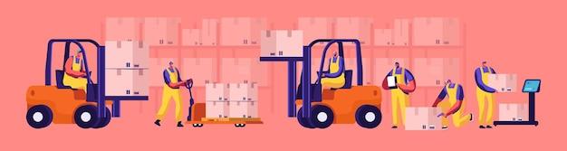 Pracownicy magazynu ładują, układają towary za pomocą elektrycznych podnośników ręcznych i wózków widłowych. ważenie ładunku na wadze podłogowej. logistyka przemysłowa i merchandising biznes kreskówka płaskie wektor ilustracja