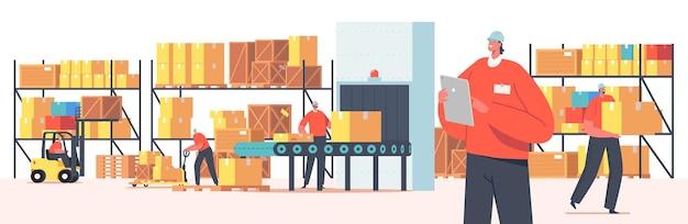 Pracownicy magazynu postacie ładowanie, układanie towarów używają podnośników i wózków widłowych. rozliczanie i pakowanie ładunku na przenośniku taśmowym. logistyka przemysłowa, merchandising. ilustracja wektorowa kreskówka ludzie