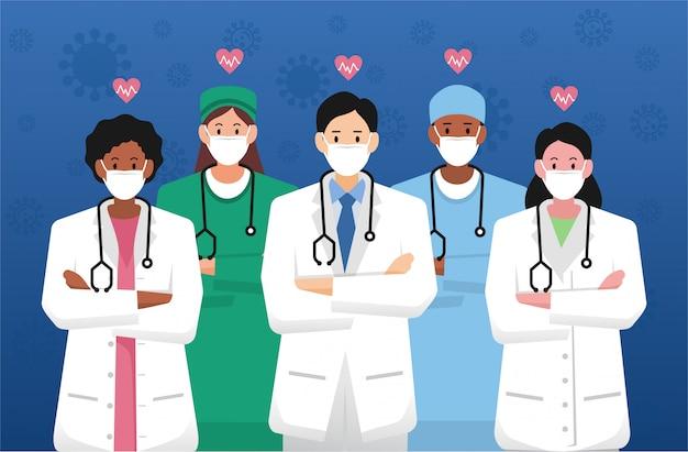 Pracownicy medyczni pierwszej linii, grupa lekarzy i personel medyczny