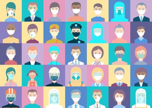 Pracownicy medyczni, policja, dostawy, sprzedawcy, ludzie ustawieni na kolorowych kwadracikach. dziękuję za walkę covid-19. lekarze awatarów, policjanci, kurierzy, sprzedawcy, farmaceuci, ratownicy, strażak, mężczyzna