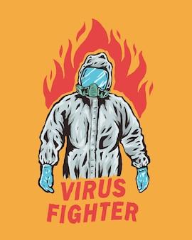 Pracownicy medyczni w kombinezonach ochronnych z płomieniami z tyłu